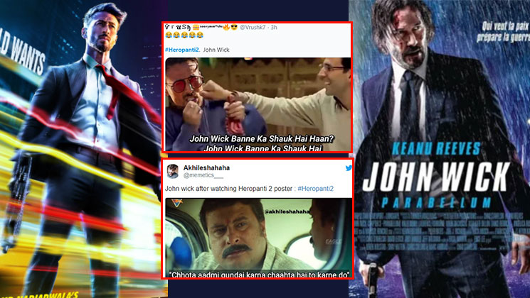 Tiger Shroff S Heropanti 2 Plagiarizes Keanu Reeves John Wick Posters Become A Meme Fest On Twitter Bollywood Bubble