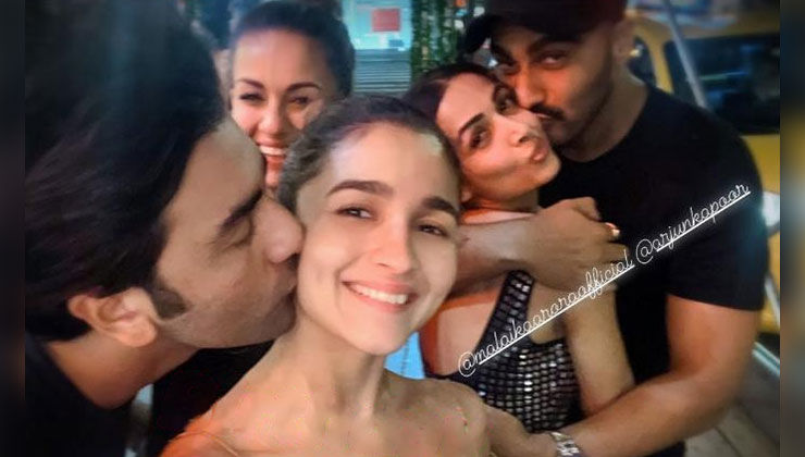 Ranbir Kapoor kissing Alia Bhatt and Arjun Kapoor kissing Malaika Arora is the cutest throwback pic you'll see today