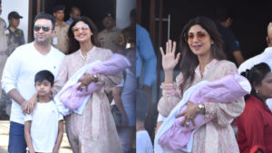 In Pics: Shilpa Shetty and Raj Kundra make first public appearance with their newborn daughter Samisha