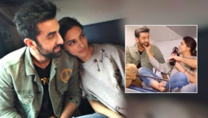 When Ranbir Kapoor blushed as Deepika Padukone pulled his cheeks-watch viral video
