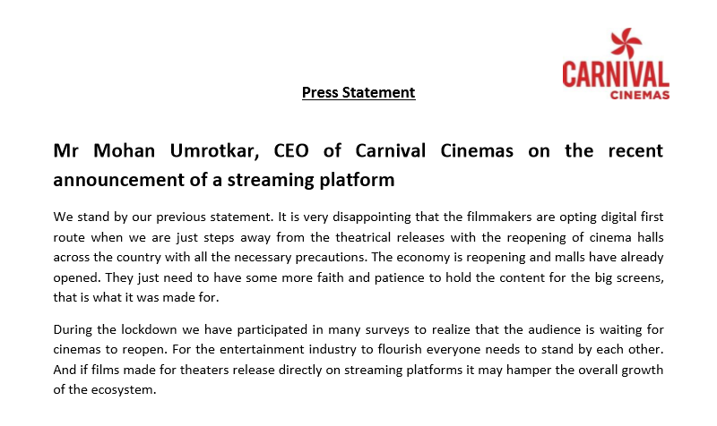 Carnival Cinemas Statement