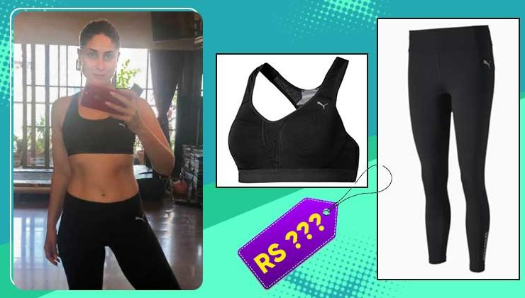 Kareena Kapoor's black sports bra and leggings by Puma are actually quite affordable!