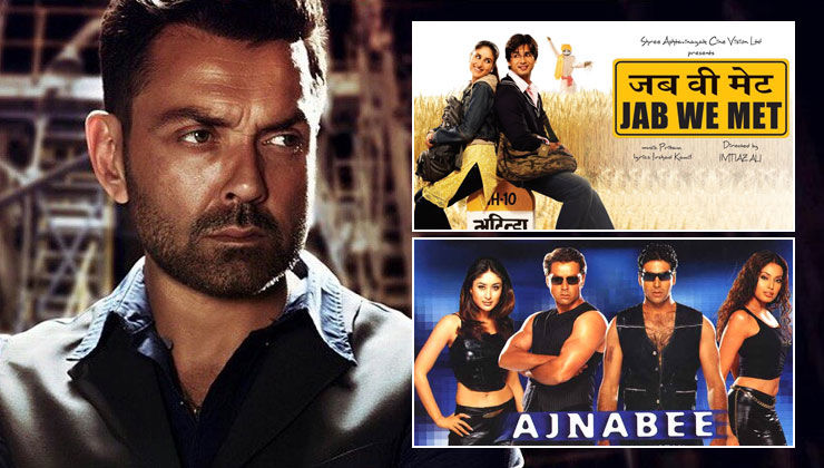 Did you know? Bobby Deol was supposed to play Shahid Kapoor's role in 'Jab We Met' & Akshay Kumar's role in 'Ajnabee'