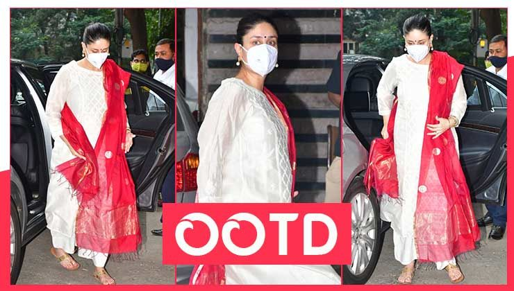 Kareena Kapoor's white kurta palazzo set with a red dupatta is a must have this festive season-view pics