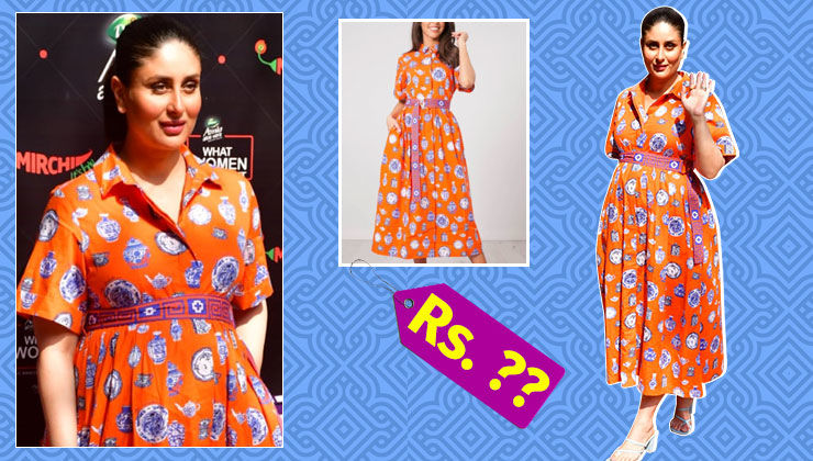 Here is how much Kareena Kapoor's pottery print orange shirt dress costs
