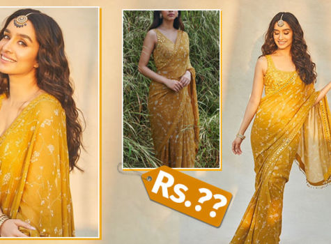 Shraddha Kapoor's Camel twig print georgette saree comes with a steep price tag