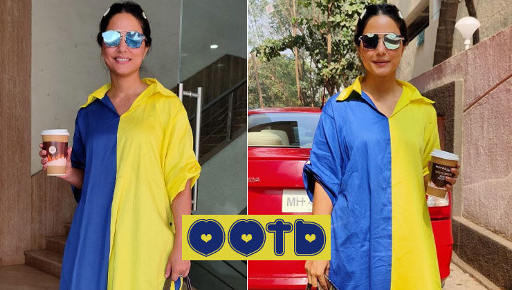 Hina Khan looks chic and stylish in this comfy yellow and blue dress; view pics