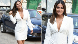 Hina Khan slays in an all white ensemble with a plunging neckline; check out her dazzling pics