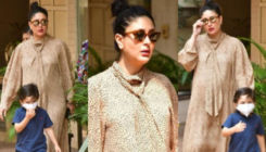Kareena Kapoor steps out with Taimur Ali Khan in a lepoard print dress; Fans curious for 2nd baby's arrival
