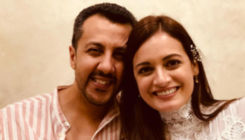 Dia Mirza and Vaibhav Rekhi pose together at their pre-wedding bash