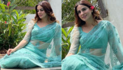 Kundali Bhagya star Shraddha Arya exudes 'desi Cinderella' vibes in a blue saree as she chills in Goa; See PICS