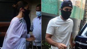 Rishi Kapoor Death Anniversary: Ranbir Kapoor and Alia Bhatt arrive at Neetu Kapoor's house; view pics