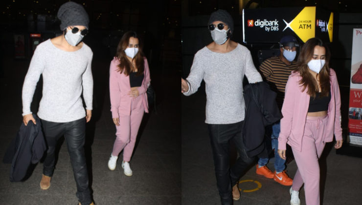 Varun Dhawan returns to Mumbai with Natasha Dalal after the actor wraps shoot of Bhediya in Arunachal Pradesh