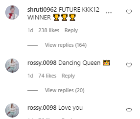 fans comments on Rubina's video