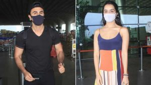 Ranbir Kapoor & Shraddha Kapoor spotted at airport as the duo heads to resume shoot for Luv Ranjan's next; view pics